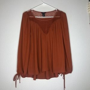 new h&m boho crochet chiffon blouse sz 2